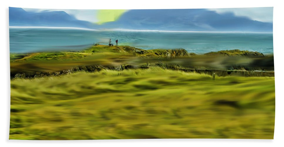 Field Beach Towel featuring the photograph Evening Stroll By The Seashore by Ericamaxine Price