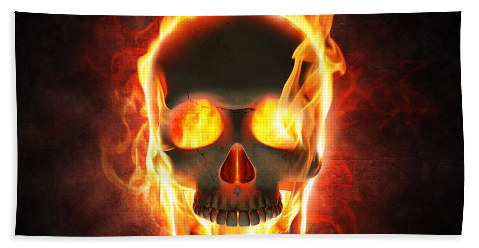 Skull Beach Towel featuring the photograph Evil skull in flames and smoke by Johan Swanepoel