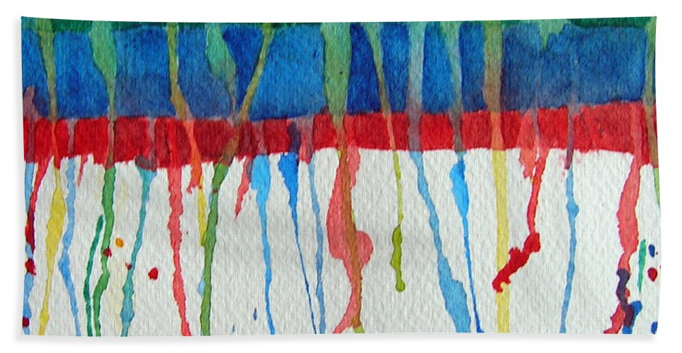 Abstract Beach Towel featuring the painting Evolution 003 - Integration by Susan Porter