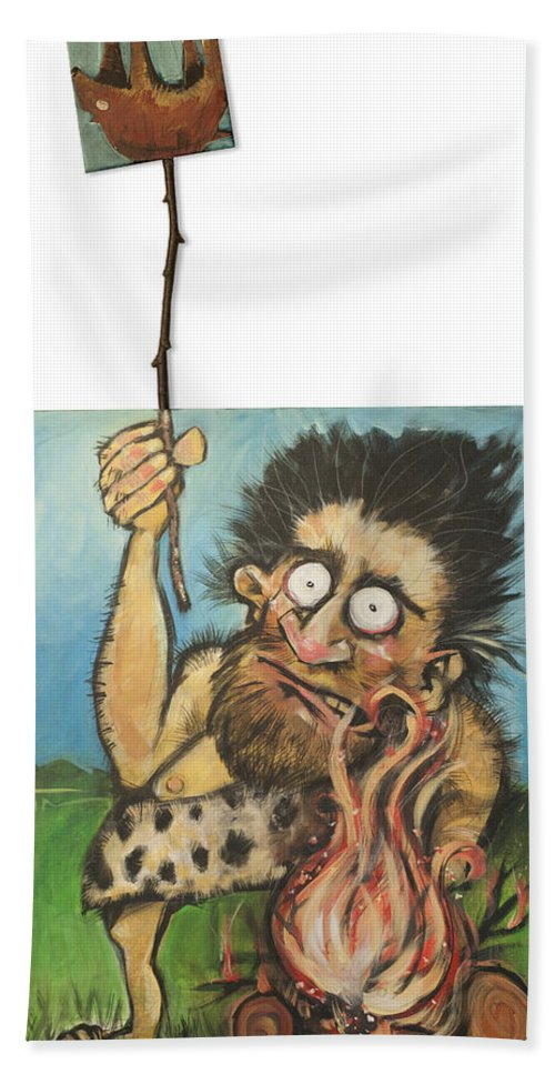 Steak Beach Towel featuring the painting Evolution Number One by Tim Nyberg