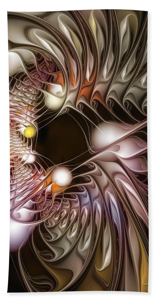Abstract Beach Towel featuring the digital art Examining Virtuosity by Casey Kotas