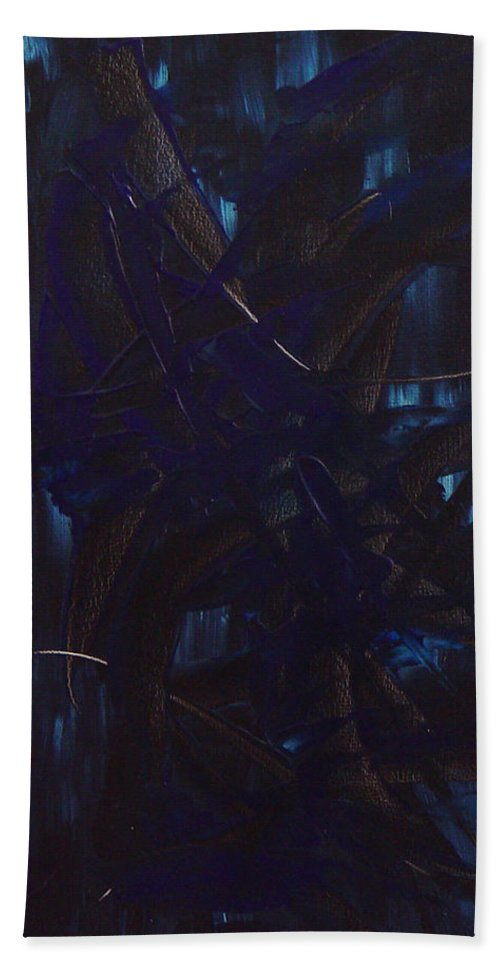 Dean Triolo Beach Towel featuring the painting Expectations Blue by Dean Triolo