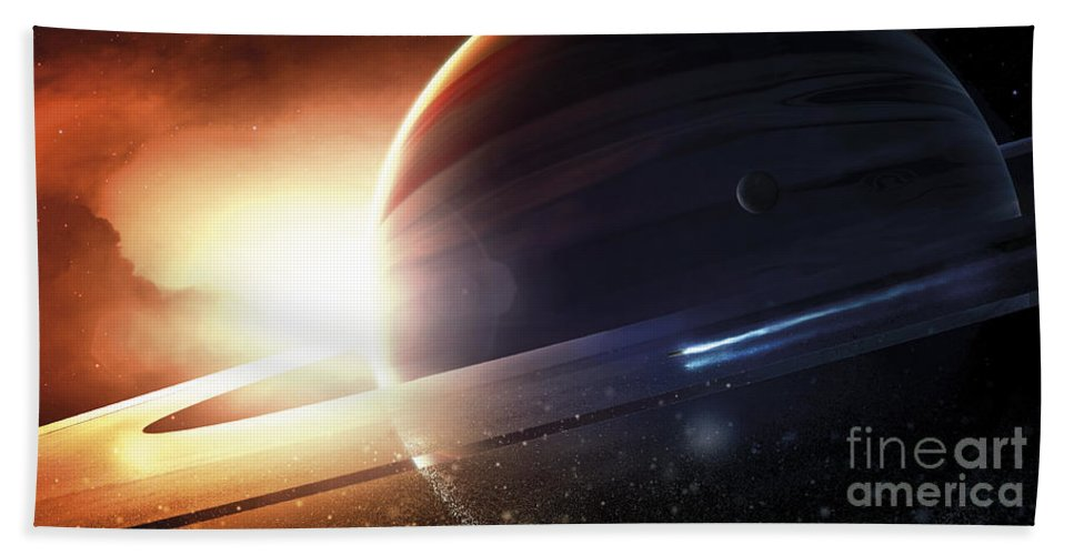 Horizontal Beach Towel featuring the digital art Expedition To A Saturn-like Planet by Tobias Roetsch