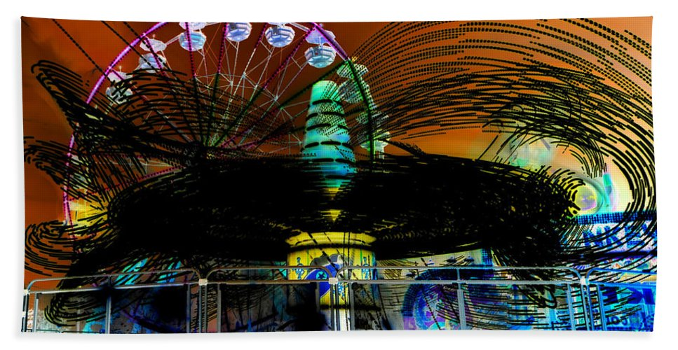 Extreme Photography Beach Towel featuring the photograph Extreme Fair Rides Work One by David Lee Thompson