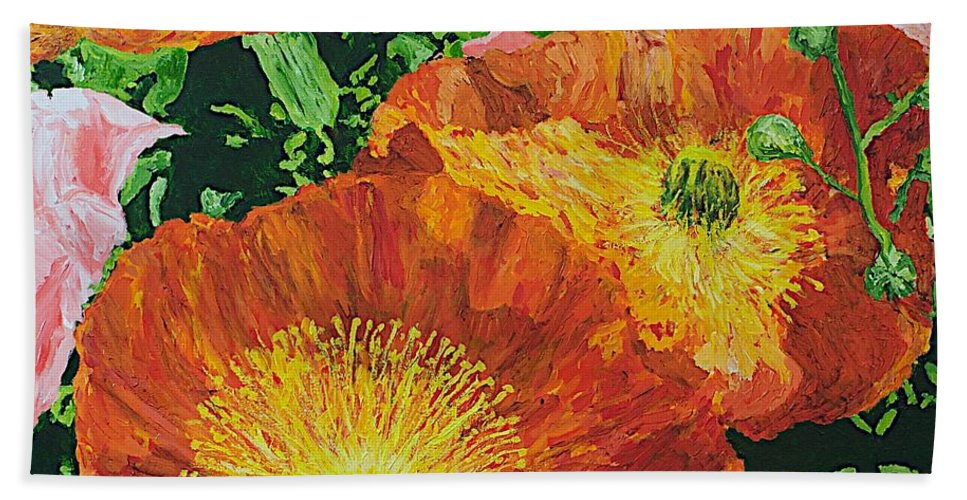Landscape Beach Towel featuring the painting Exuberance is Beauty by Allan P Friedlander