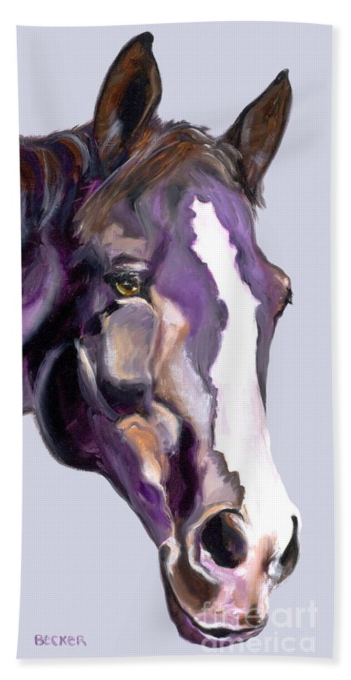 Thoroughbred Beach Towel featuring the painting Eye On The Prize by Susan A Becker