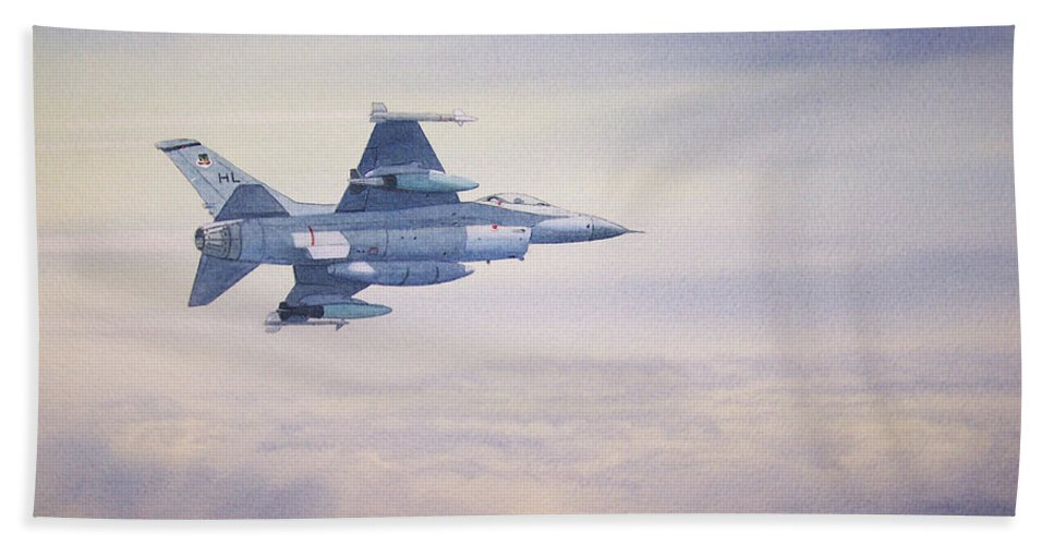 Jet Beach Towel featuring the painting F-16 Fighting Falcon by Bill Holkham