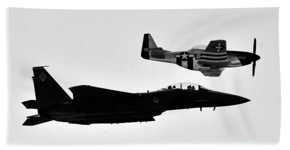 Jet Beach Towel featuring the photograph F 15 And P 51 by David Lee Thompson