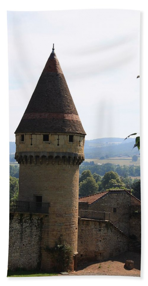 Watch Tower Beach Towel featuring the photograph Fabry Tower - Cluny - Burgundy by Christiane Schulze Art And Photography