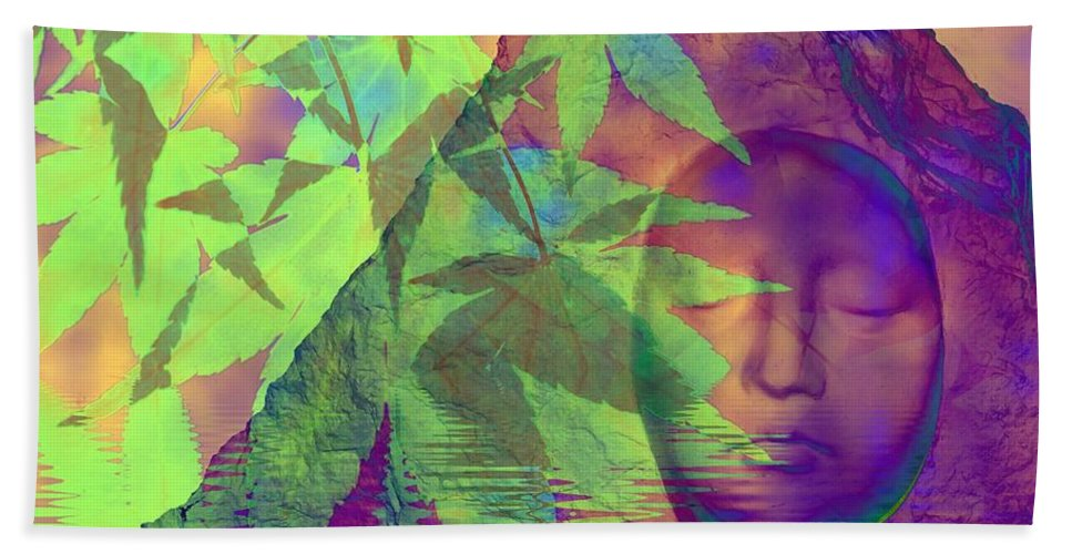 Fractal Art Beach Towel featuring the digital art Face In The Rock With Maple Leaves by Elizabeth McTaggart