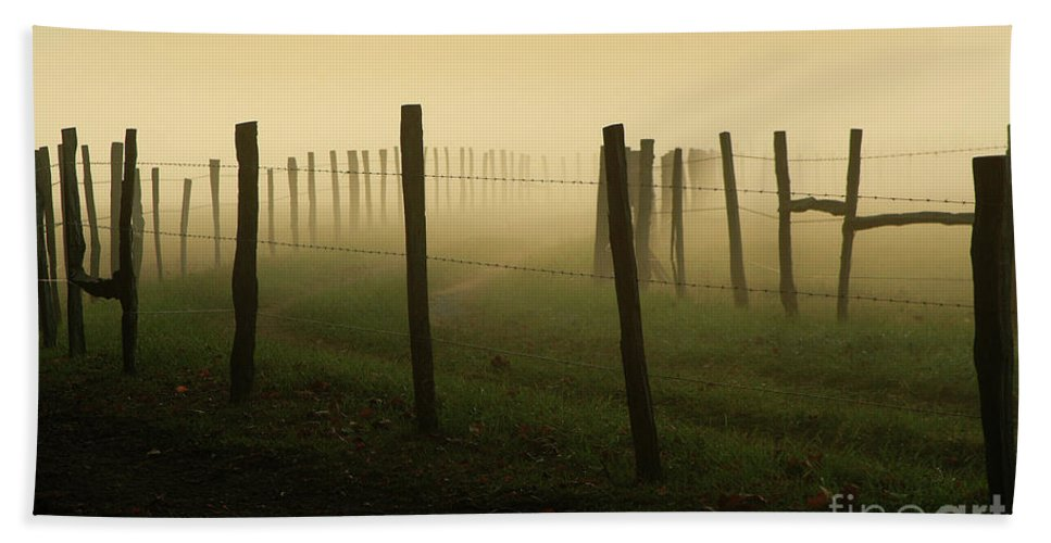 Fence Beach Towel featuring the photograph Fading Into The Fog by Douglas Stucky