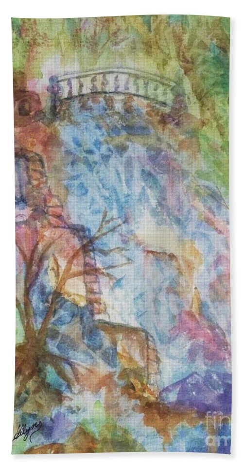 Waterfall Beach Towel featuring the painting Faerie Falls by Ellen Levinson