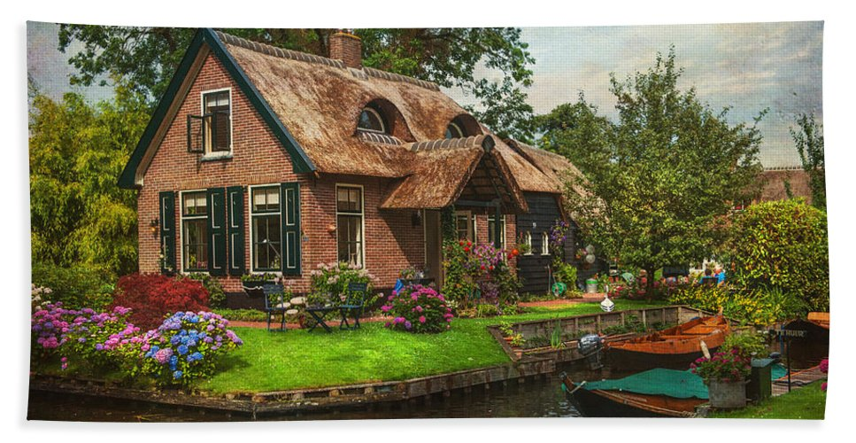 Netherlands Beach Towel featuring the photograph Fairytale House. Giethoorn. Venice Of The North by Jenny Rainbow