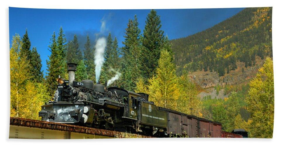 Steam Train Photographs Beach Towel featuring the photograph Fall Colored Bridge by Ken Smith