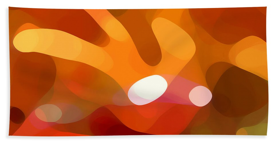 Abstract Beach Towel featuring the painting Fall Day by Amy Vangsgard