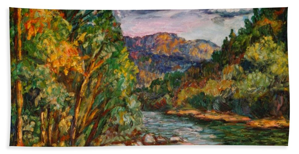 River Beach Towel featuring the painting Fall New River Scene by Kendall Kessler
