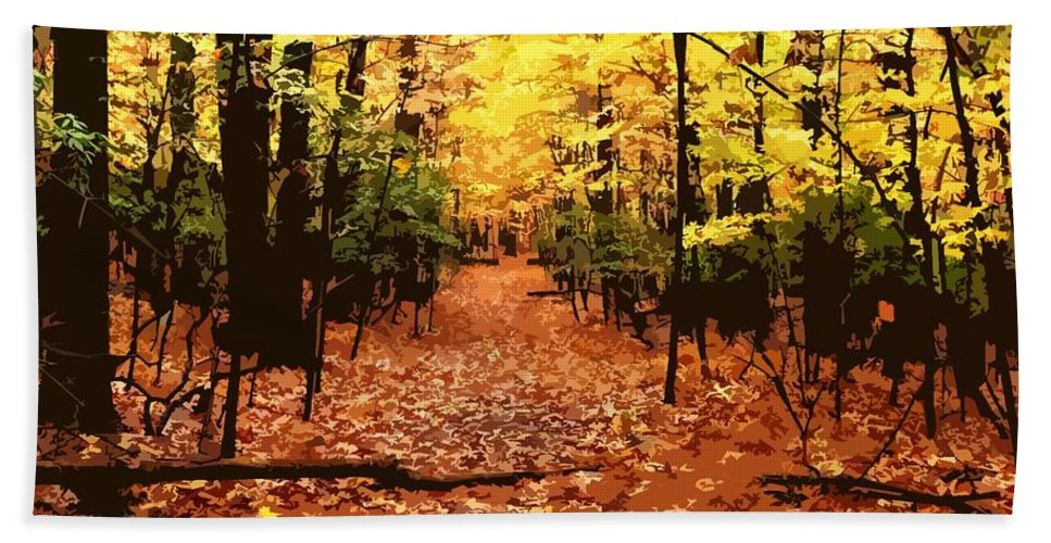 Fall Beach Towel featuring the photograph Fall Path by Jefferson Hobbs