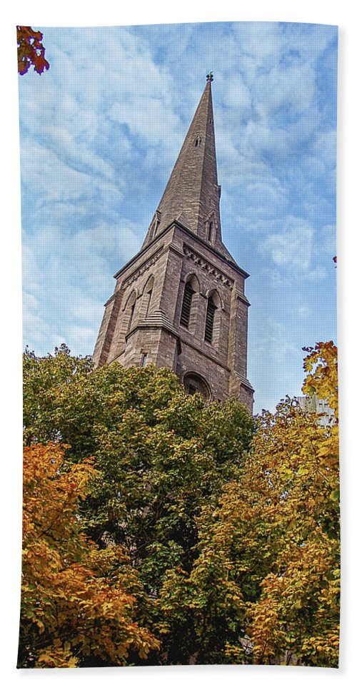Religion Beach Towel featuring the photograph Fall Steeple by Eric Swan