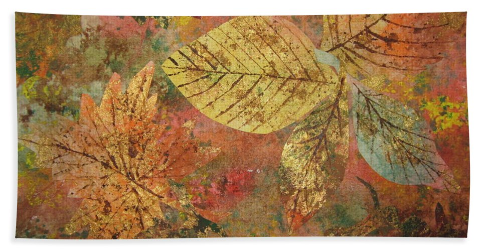 Fall Beach Towel featuring the painting Fallen Leaves II by Ellen Levinson