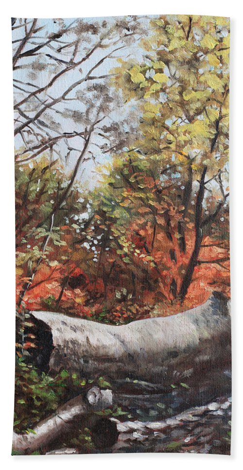 Trees Beach Towel featuring the painting Fallen Trees On Southampton Common During Autumn by Martin Davey