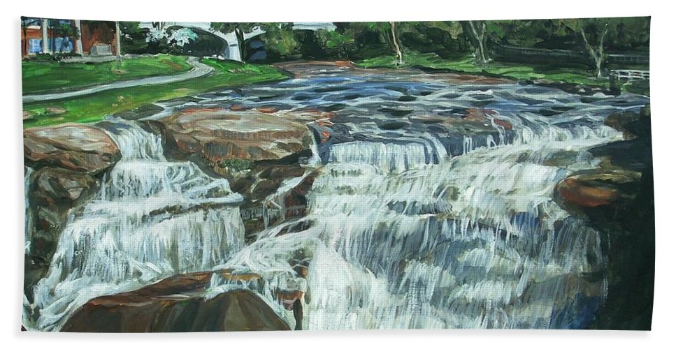 Waterfall Beach Towel featuring the painting Falls River Park by Bryan Bustard