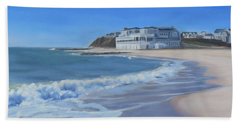 Falmouth Beach Towel featuring the painting Falmouth Heights Beach Cape Cod by Sue Birkenshaw