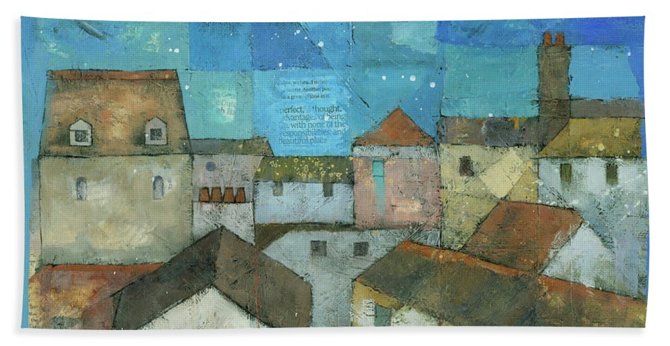 Abstract Beach Towel featuring the painting Falmouth by Steve Mitchell