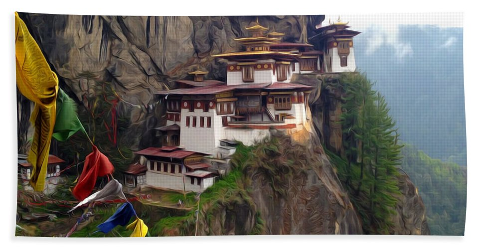 Architect Beach Towel featuring the painting Famous Tigers Nest Monastery Of Bhutan 10 by Jeelan Clark