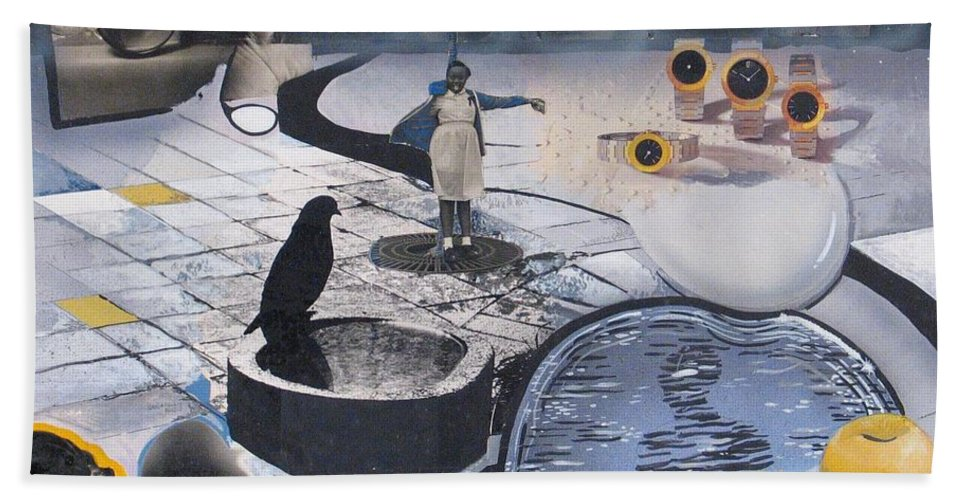 Collage Beach Towel featuring the mixed media Fantasy Piece by Rollin Kocsis