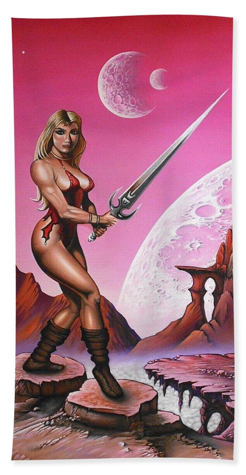 Fantasy Beach Towel featuring the painting Fantasy Warrior Princess by Sam Loveless