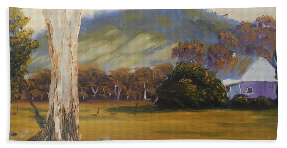 Impressionism Beach Towel featuring the painting Farm With Large Gum Tree by Pamela Meredith