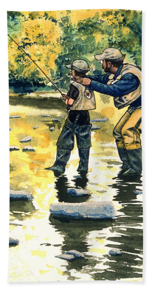 Fly Fishing Beach Towel featuring the painting Father And Son by John D Benson