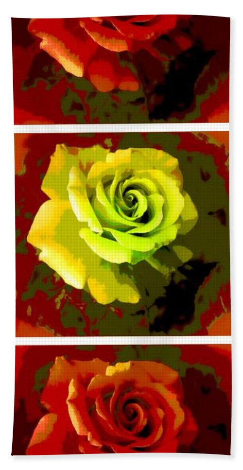 Fauvism Roses Triptych Beach Towel featuring the photograph Fauvism Roses Triptych by Barbara Griffin