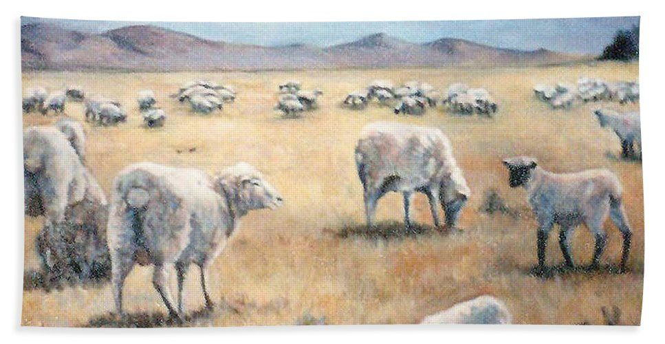Nature Beach Towel featuring the painting Feed My Sheep by Donna Tucker