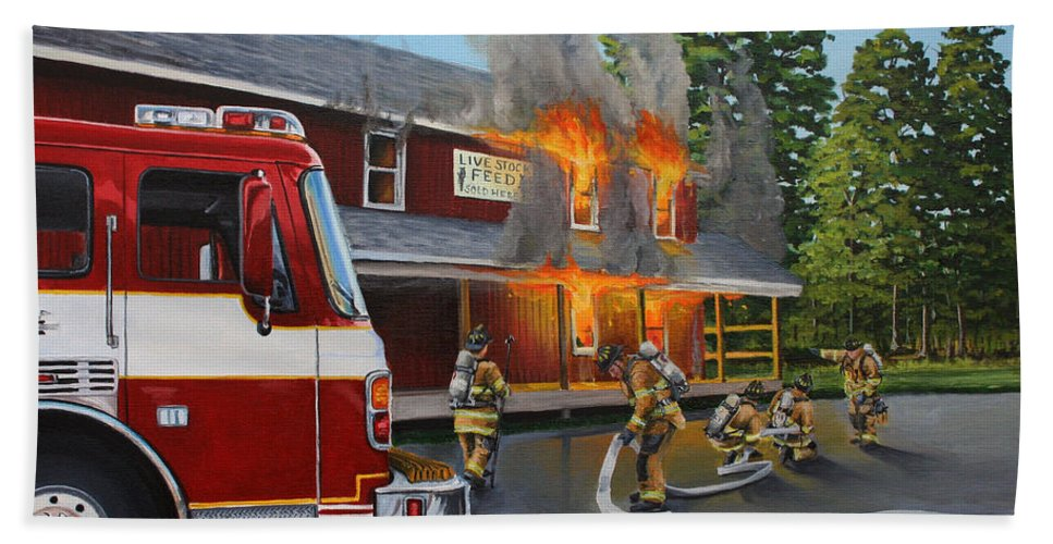 Bulding Fire Beach Towel featuring the painting Feed Store Fire by Paul Walsh