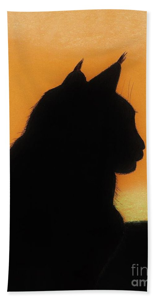 Cat Beach Towel featuring the drawing Feline - Sunset by D Hackett