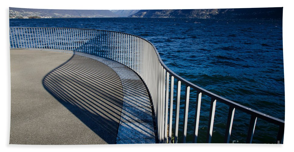 Banister Beach Towel featuring the photograph Fence With Shadow by Mats Silvan