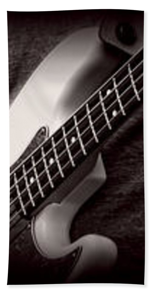 Fender Beach Towel featuring the photograph Fender Bass by Bob Orsillo