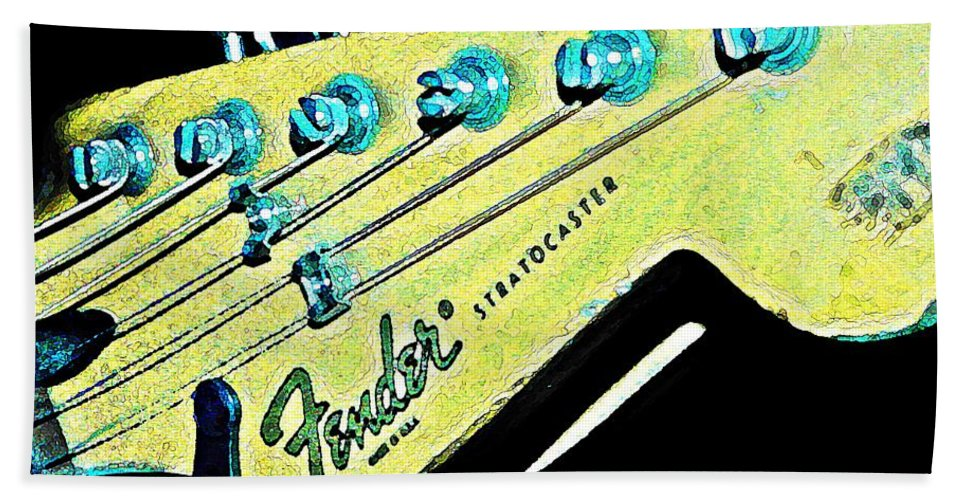 Fender Beach Towel featuring the photograph Fender Head In Watercolor Photo by Chris Berry