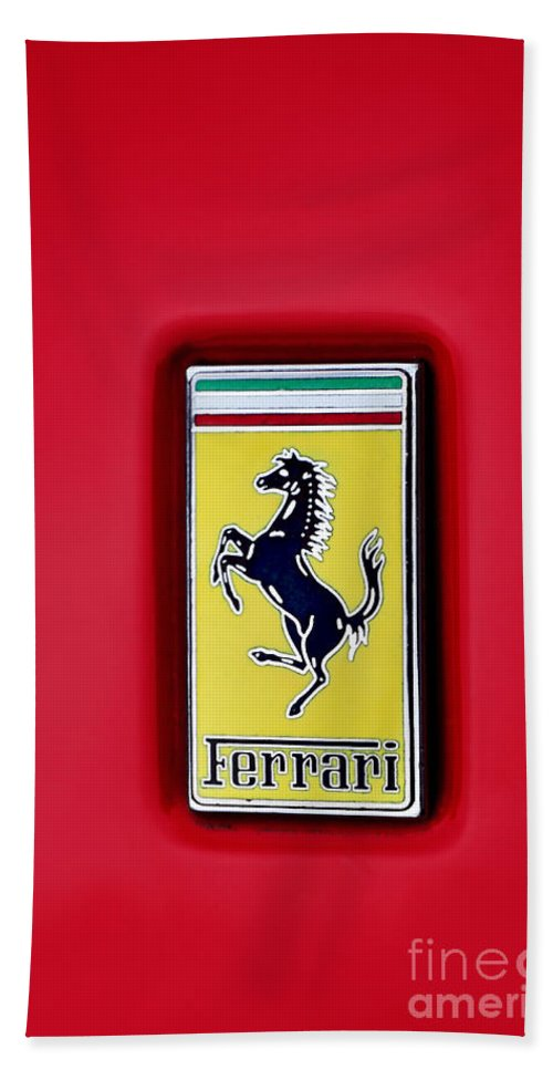 Photography Beach Towel featuring the photograph Ferrari Badge by Kaye Menner