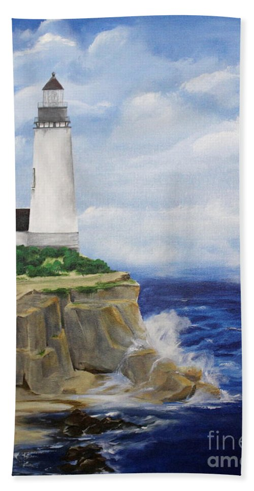 Dlgerring Beach Towel featuring the painting Ferrels Lighthouse by D L Gerring