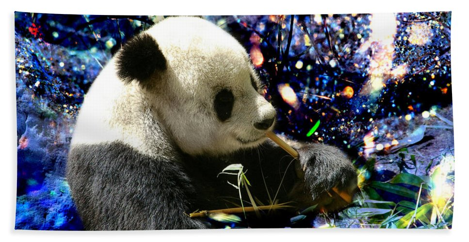 Festive Panda Beach Towel featuring the photograph Festive Panda by Mariola Bitner