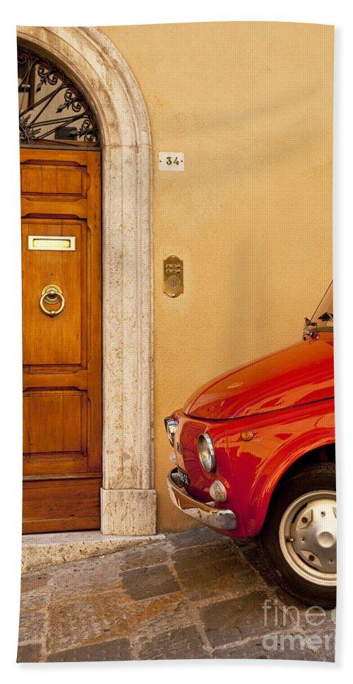 Wood Door Beach Towel featuring the photograph Fiat Parking by Brian Jannsen