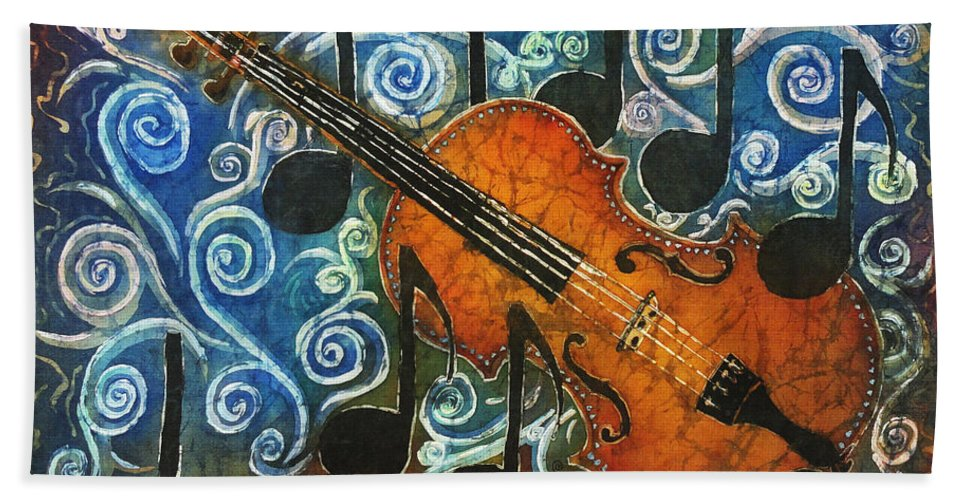 Fiddle Beach Towel featuring the painting Fiddle 1 by Sue Duda