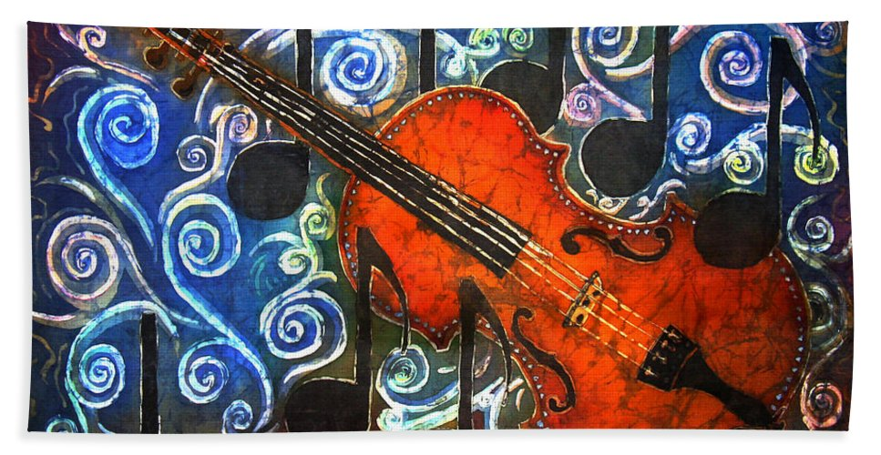 Fiddle Beach Sheet featuring the painting Fiddle - Violin by Sue Duda