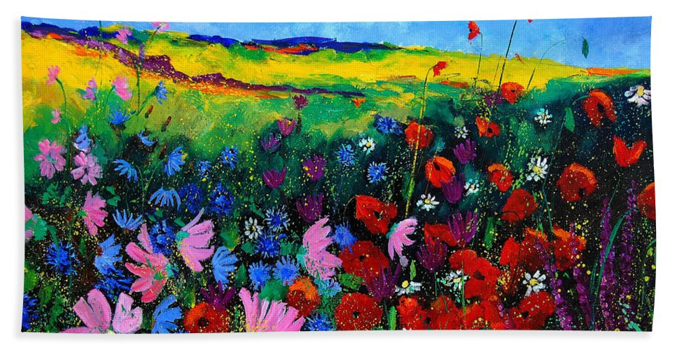 Poppies Beach Sheet featuring the painting Field Flowers by Pol Ledent