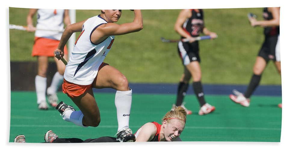 University Of Virginia Beach Towel featuring the photograph Field Hockey Hurdle by Jason O Watson