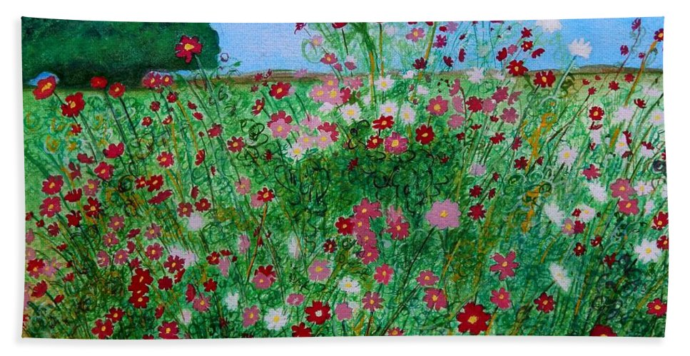 Cosmos Beach Towel featuring the painting Field Of Cosmos by Caroline Street