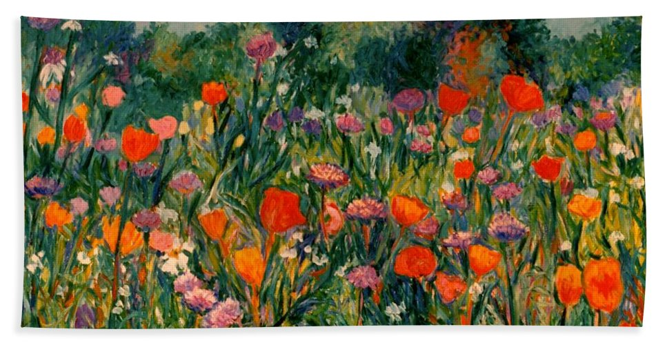 Flowers Beach Towel featuring the painting Field Of Flowers by Kendall Kessler