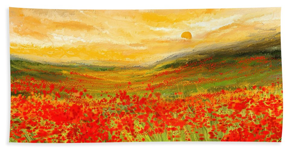 Field Of Poppies Field Of Poppies Impressionist Painting Beach